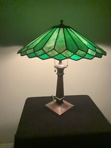Antique Handel Green Lamp Signed on Base and Shade