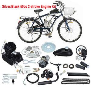 50cc 2 Stroke Gas Engine Motor Kit Motorized Bicycle Bike Black Single Cylinder