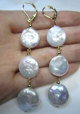 Baroque AAA 15-16 mm South Sea White Baroque Pearl Earrings 14K YELLOW GOLD