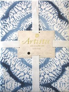 """ARTISTIC ACCENTS Cotton Blend 60"""" x 102"""" TABLECLOTH Blue and White ~ New"""