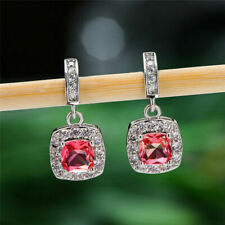 3.8CT Cushion Pink Ruby & Moissanite Drop & Dangle Earrings 14K White Gold Over