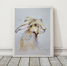 More details for new large elle smith original signed watercolour art painting of a little hare