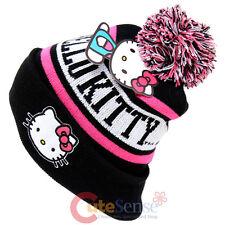 Sanrio Hello Kitty Beanie Intarsia Cuff Pom Beanie Hat Pink Black Cap Teen/Adult
