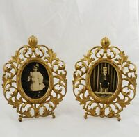 """Pair of Victorian Oval Gold Gilt Picture Easel Frames 11"""" x 8"""""""