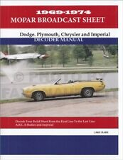 Chrysler Dodge Plymouth Build Sheet Decoder 1969 1970 1971 1972 1973 1974 Fits 1973 Barracuda