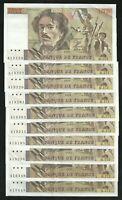 Lot de 10 billets de 100 Francs Delacroix 1991 Alphabet 171 en TTB + / SUP