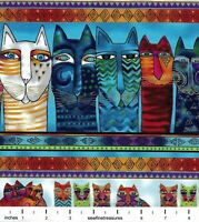 Feline Frolic Laurel Burch MULTI COLOR BORDER STRIPE Fabric By Long Half-Yard