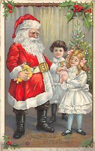 H62/ Santa Claus Christmas Postcard c1910 Girls Tree Doll Toys 111