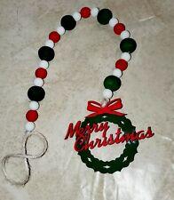 Christmas Farmhouse Merry Christmas Wreath wood bead Garland