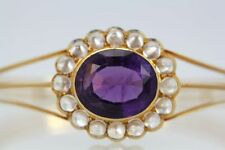 VICTORIAN AMETHYST MOONSTONE BANGLE BRACELET 14K YELLOW GOLD APPROX 16 CARATS