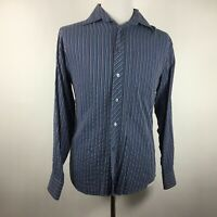 BUGATCHI UOMO Men's Medium Blue Long Sleeve Button Shirt 85 Rayon 15 Poly