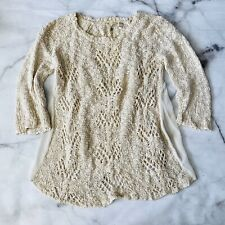 ANTHROPOLOGIE Knitted Knotted Loose Knit Crochet Sweater Size S 3/4 Sleeve Beige