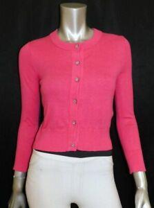 KATE SPADE NEW Bright Pink Jewel Button Cashmere Blend Cardigan Sweater sz XXS