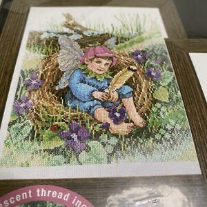 NIP Plaid Bucilla 2002 Counted Cross Stitch 43214 Woodland Fairies Diana Thomas
