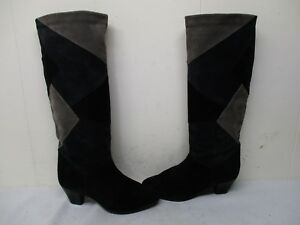 Multi Colored Patch Suede Leather Fashion Boots Womens Size 36 EUR Made In Italy