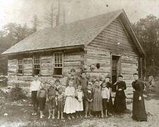 Vintage Teacher One Room School Log Cabin Bare Foot Students MIchigan 1880
