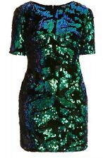 Topshop Green Black Velvet Sequin Mermaid Shimmer Vtg Mini Party Dress 6 2 34 P
