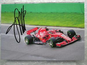 2018 Sebastian Vettel Hand Signed Autograph Ferrari F1 F-1 Card Promo Postcard