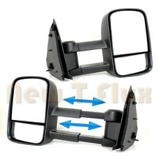 PAIR MANUAL TOW MIRRORS(L+R Side)~Black Telescoping View~F150 F250 LIGHT DUTY