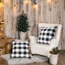 18x18 Buffalo Check Plaid Throw Pillow Covers Cotton Linen Cushion for Sofa Xmas