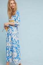 NEW ANTHROPOLOGIE Sz 14 LONG SLEEVE FLORAL PRINTED BELTED KIMONO MAXI DRESS