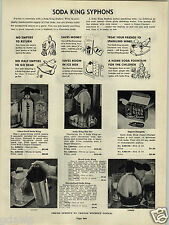 1941 PAPER AD Soda King Syphons Streamlined Kingsley Smokers Ash Tray