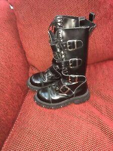 TUK Boots Shoes Size 6 Mens Goth Punk Gothic Anarchy Black Lace Buckle T.U.K.