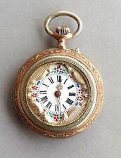 Antike Silber Damen Taschenuhr - 6 Rubis - Zifferblatt Handmalerei um 1880