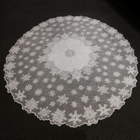 White Vintage Tablecloth Round Lace Table Cloth Topper Wedding Party Decor 70""