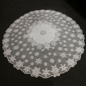 White Vintage Tablecloth Round Lace Table Cloth Topper Wedding Decor 70inch