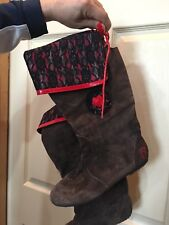 Pastry Women's Fiorellino Mid to Knee Boots Brown & Plaid Red Suede Size 7 M
