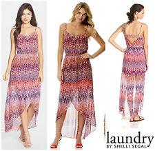 LAUNDRY By SHELLI SEGAL BOHO CHAIN  BELT TULIP HEM  MAXI  DRESS  Sz 6  NEW  $168