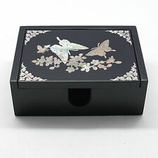 Jewelry box of ornately decorated mother of pearl old pattern 4 corners