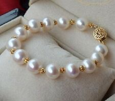 HOT 10-11MM  GENUINE ROUND WHITE SOUTH SEA PEARL BRACELET 14K GOLD CLASP