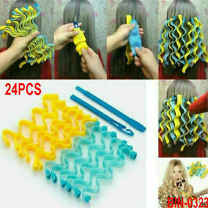 24X Magic Hair Curler Roller Soft Spiral Bendy Rollers Water Wave Curling Craft
