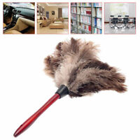 Feather duster Anti-static Ostrich Feather Brush Dust Wooden Cleaning BIN U1O3
