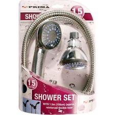TUBO della doccia Set con raccordi rinforzato 1.5m PIPE Testa Chrome Bagno Flessibile