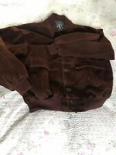 Vintage VIP MODA made In Italy Mens Faux Suede Brown Bomber Jacket-size M VGC
