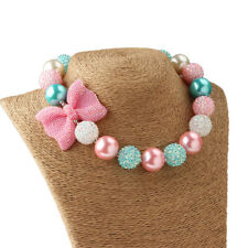 Girl Kids Pink Bowknot Pendant Acrylic Beaded Chunky Necklace Gift Jewelry