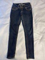 Wall Flower Women's Jeans Size 3 Embellished Blue Denim Stretch