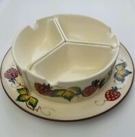 Vintage Jam & Jelly 3 Condiment Dish Bowl Hand-painted with Strawberries