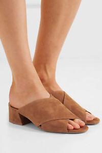 NIB Vince Karsen Italian Suede Leather Slide Sandal Mules Cedar (Brown) $275