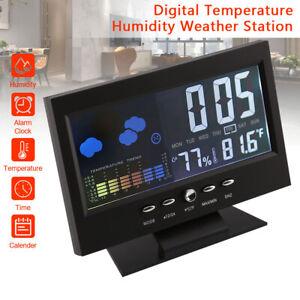 LED Digital Alarm Clock Snooze Calendar Thermometer Weather Large Letter Display
