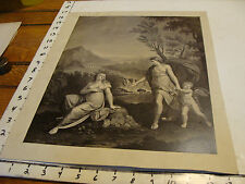vintage early print--classic sceen ladies and cherub