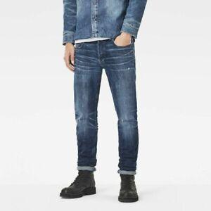 G-Star Raw 3301 Slim Rl Medium Aged Skew Stretch Denim Jeans Men 51014-6555-071