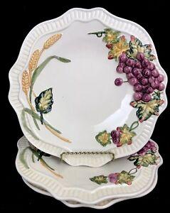 "Set of 3 Bella Casa by Ganz Embossed Raised Fruit Dinner Plates Ceramic 10-5/8"""