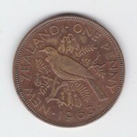 1963 New Zealand NZ One Penny Coin  AA-38