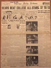 Chicago Bears Beat All Stars Signed by McAfee original newspaper 1941