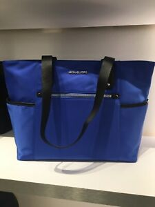 MICHAEL KORS POLLY TOP ZIP NYLON TOTE SHOULDER BAG ELECTRIC BLUE NWTS