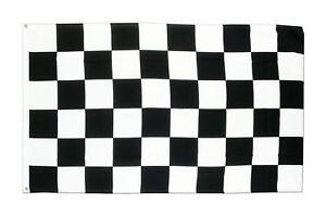 BLACK & WHITE CHECKERED FORMULA 1 F1 FLAG 5X3FT 5'X3' EYELETS FOR HANGING